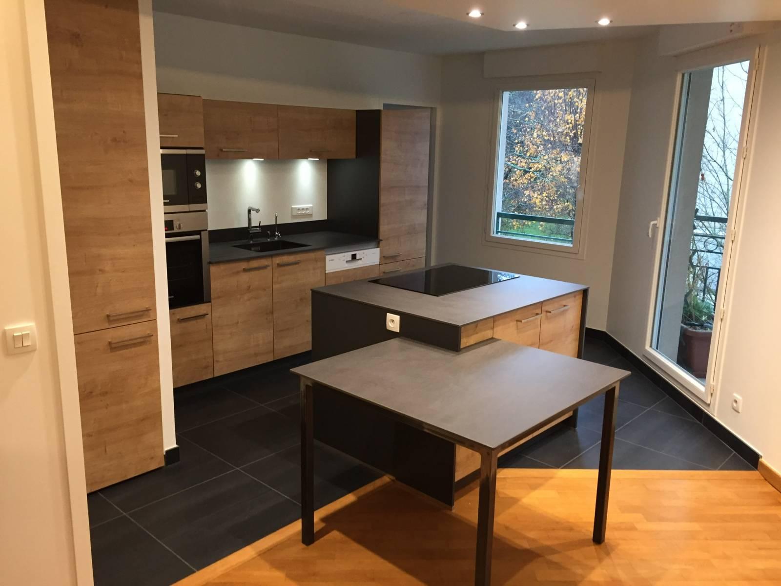cuisine bois et plan de travail granit lyon 6 cuisiniste haut de gamme lyon am nagement. Black Bedroom Furniture Sets. Home Design Ideas