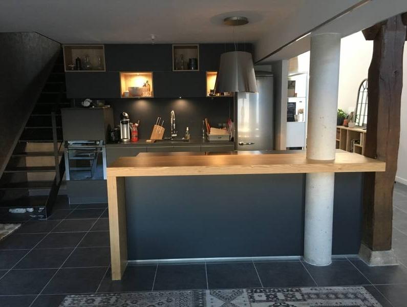 cuisine ouverte en fenix noir a lyon cuisiniste haut de gamme lyon am nagement cuisine. Black Bedroom Furniture Sets. Home Design Ideas