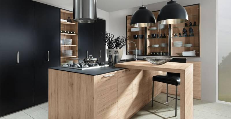 Cuisine aspect bois avec poign es cuisiniste haut de gamme lyon am nagement cuisine - Schott cuisine ...